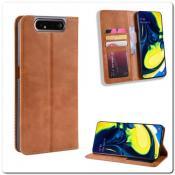 Купить Чехол Книжка с Скрытыми Магнитами Авто Закрытие для Samsung Galaxy A80 Коричневый на Apple-Land.ru