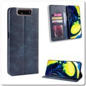Купить Чехол Книжка с Скрытыми Магнитами Авто Закрытие для Samsung Galaxy A80 Синий на Apple-Land.ru