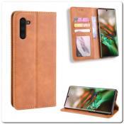 Купить Чехол Книжка с Скрытыми Магнитами Авто Закрытие для Samsung Galaxy Note 10 Коричневый на Apple-Land.ru