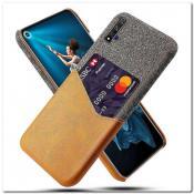 Купить Гибридный Чехол для Задней Панели Телефона с Карманом для Карты для Huawei Honor 20 Оранжевый на Apple-Land.ru