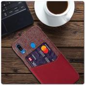 Гибридный Чехол для Задней Панели Телефона с Карманом для Карты для Samsung Galaxy A30 / Galaxy A20 Красный