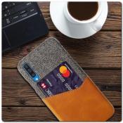 Гибридный Чехол для Задней Панели Телефона с Карманом для Карты для Samsung Galaxy A50 Оранжевый