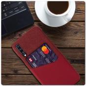 Гибридный Чехол для Задней Панели Телефона с Карманом для Карты для Samsung Galaxy A70 Красный