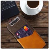 Гибридный Чехол для Задней Панели Телефона с Карманом для Карты для Samsung Galaxy A80 Оранжевый
