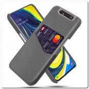 Гибридный Чехол для Задней Панели Телефона с Карманом для Карты для Samsung Galaxy A80 Зеленый