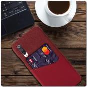 Купить Гибридный Чехол для Задней Панели Телефона с Карманом для Карты для Xiaomi Mi A3 Красный на Apple-Land.ru