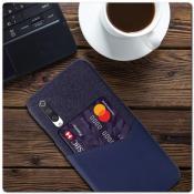 Купить Гибридный Чехол для Задней Панели Телефона с Карманом для Карты для Xiaomi Mi A3 Синий на Apple-Land.ru