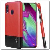 Купить IMAK Ruiy PU Кожаный Чехол из Ударопрочного Пластика для Samsung Galaxy A40 - Красный / Черный на Apple-Land.ru