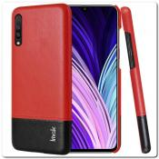 Купить IMAK Ruiy PU Кожаный Чехол из Ударопрочного Пластика для Samsung Galaxy A50 - Красный / Черный на Apple-Land.ru