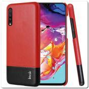 Купить IMAK Ruiy PU Кожаный Чехол из Ударопрочного Пластика для Samsung Galaxy A70 - Красный / Черный на Apple-Land.ru