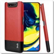 Купить IMAK Ruiy PU Кожаный Чехол из Ударопрочного Пластика для Samsung Galaxy A80 - Красный / Черный на Apple-Land.ru