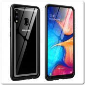 Купить Магнитный Металлический Бампер Чехол для Samsung Galaxy A30 / Galaxy A20 Стеклянная Задняя Панель Черный на Apple-Land.ru