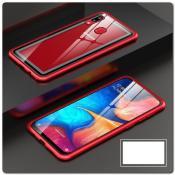 Купить Магнитный Металлический Бампер Чехол для Samsung Galaxy A30 / Galaxy A20 Стеклянная Задняя Панель Красный на Apple-Land.ru