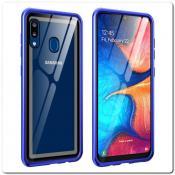Купить Магнитный Металлический Бампер Чехол для Samsung Galaxy A30 / Galaxy A20 Стеклянная Задняя Панель Синий на Apple-Land.ru