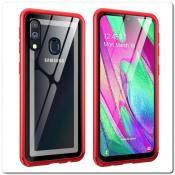 Купить Магнитный Металлический Бампер Чехол для Samsung Galaxy A40 Стеклянная Задняя Панель Красный на Apple-Land.ru