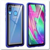 Купить Магнитный Металлический Бампер Чехол для Samsung Galaxy A40 Стеклянная Задняя Панель Синий на Apple-Land.ru