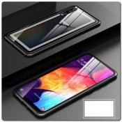 Магнитный Металлический Бампер Чехол для Samsung Galaxy A50 Стеклянная Задняя Панель Черный
