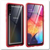 Купить Магнитный Металлический Бампер Чехол для Samsung Galaxy A50 Стеклянная Задняя Панель Красный на Apple-Land.ru