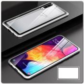 Магнитный Металлический Бампер Чехол для Samsung Galaxy A50 Стеклянная Задняя Панель Серебряный