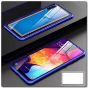 Магнитный Металлический Бампер Чехол для Samsung Galaxy A50 Стеклянная Задняя Панель Синий