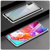 Магнитный Металлический Бампер Чехол для Samsung Galaxy A70 Стеклянная Задняя Панель Серебряный