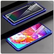 Купить Магнитный Металлический Бампер Чехол для Samsung Galaxy A70 Стеклянная Задняя Панель Синий на Apple-Land.ru