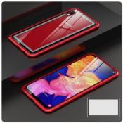Магнитный Металлический Бампер Чехол с Закаленным Стеклом для Samsung Galaxy A10 Красный