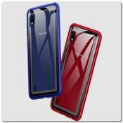 Купить Магнитный Металлический Бампер Чехол с Закаленным Стеклом для Samsung Galaxy A10 Красный на Apple-Land.ru