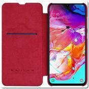 Nillkin Qin Искусственно Кожаная Чехол Книжка для Samsung Galaxy A70 Красный