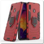 Купить Противоударный Чехол Hybrid Ring с Кольцом для Samsung Galaxy A30 / Galaxy A20 и Металлической Пластиной для Магнитного Держателя Красный на Apple-Land.ru