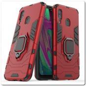 Купить Противоударный Чехол Hybrid Ring с Кольцом для Samsung Galaxy A40 и Металлической Пластиной для Магнитного Держателя Красный на Apple-Land.ru
