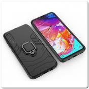 Купить Противоударный Чехол Hybrid Ring с Кольцом для Samsung Galaxy A70 и Металлической Пластиной для Магнитного Держателя Черный на Apple-Land.ru