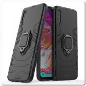 Противоударный Чехол Hybrid Ring с Кольцом для Samsung Galaxy A70 и Металлической Пластиной для Магнитного Держателя Черный
