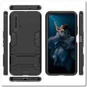 Купить Противоударный Пластиковый Двухслойный Защитный Чехол для Huawei Honor 20 с Подставкой Черный на Apple-Land.ru