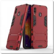 Купить Противоударный Пластиковый Двухслойный Защитный Чехол для Samsung Galaxy A30 / Galaxy A20 с Подставкой Красный на Apple-Land.ru