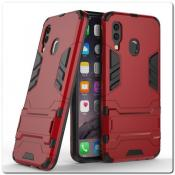 Купить Противоударный Пластиковый Двухслойный Защитный Чехол для Samsung Galaxy A40 с Подставкой Красный на Apple-Land.ru