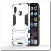 Купить Противоударный Пластиковый Двухслойный Защитный Чехол для Samsung Galaxy A40 с Подставкой Серебряный на Apple-Land.ru