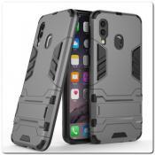 Купить Противоударный Пластиковый Двухслойный Защитный Чехол для Samsung Galaxy A40 с Подставкой Серый на Apple-Land.ru