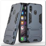 Противоударный Пластиковый Двухслойный Защитный Чехол для Samsung Galaxy A40 с Подставкой Синий