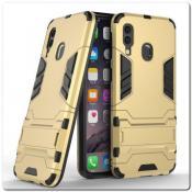 Купить Противоударный Пластиковый Двухслойный Защитный Чехол для Samsung Galaxy A40 с Подставкой Золотой на Apple-Land.ru