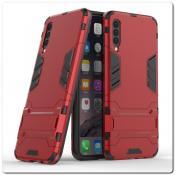 Противоударный Пластиковый Двухслойный Защитный Чехол для Samsung Galaxy A50 с Подставкой Красный