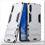 Купить Противоударный Пластиковый Двухслойный Защитный Чехол для Samsung Galaxy A70 с Подставкой Серебряный на Apple-Land.ru
