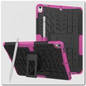 Купить Противоударный Усиленный Ребристый Hybrid Tyre Защитный Чехол для iPad Air 2019 с Подставкой Ярко-Розовый на Apple-Land.ru