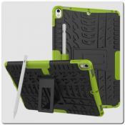 Купить Противоударный Усиленный Ребристый Hybrid Tyre Защитный Чехол для iPad Air 2019 с Подставкой Зеленый на Apple-Land.ru