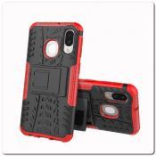 Противоударный Усиленный Ребристый Hybrid Tyre Защитный Чехол для Samsung Galaxy A40 с Подставкой Красный