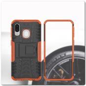 Противоударный Усиленный Ребристый Hybrid Tyre Защитный Чехол для Samsung Galaxy A40 с Подставкой Оранжевый
