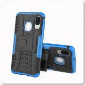 Купить Противоударный Усиленный Ребристый Hybrid Tyre Защитный Чехол для Samsung Galaxy A40 с Подставкой Синий на Apple-Land.ru