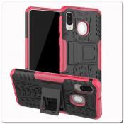 Противоударный Усиленный Ребристый Hybrid Tyre Защитный Чехол для Samsung Galaxy A40 с Подставкой Ярко-Розовый