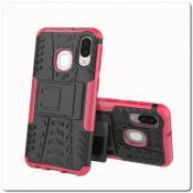 Купить Противоударный Усиленный Ребристый Hybrid Tyre Защитный Чехол для Samsung Galaxy A40 с Подставкой Ярко-Розовый на Apple-Land.ru