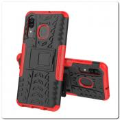 Купить Противоударный Усиленный Ребристый Hybrid Tyre Защитный Чехол для Samsung Galaxy A50 / Galaxy A30 с Подставкой Красный на Apple-Land.ru